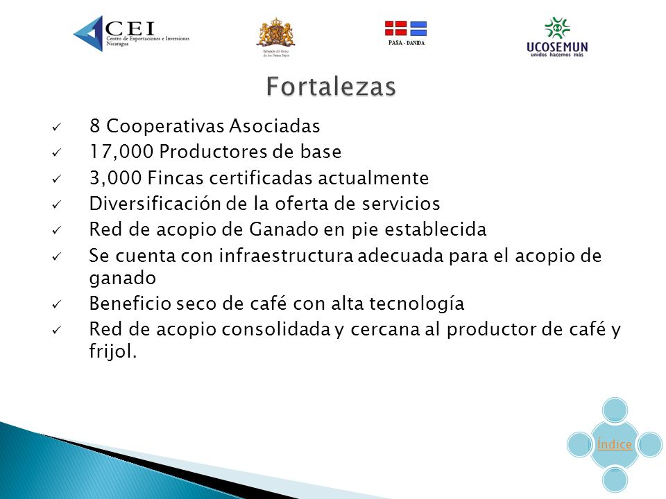 Fortalezas 8 Cooperativas Asociadas 17,000 Productores de base