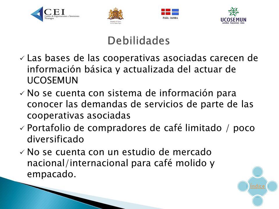 Debilidades Las bases de las cooperativas asociadas carecen de información básica y actualizada del actuar de UCOSEMUN.
