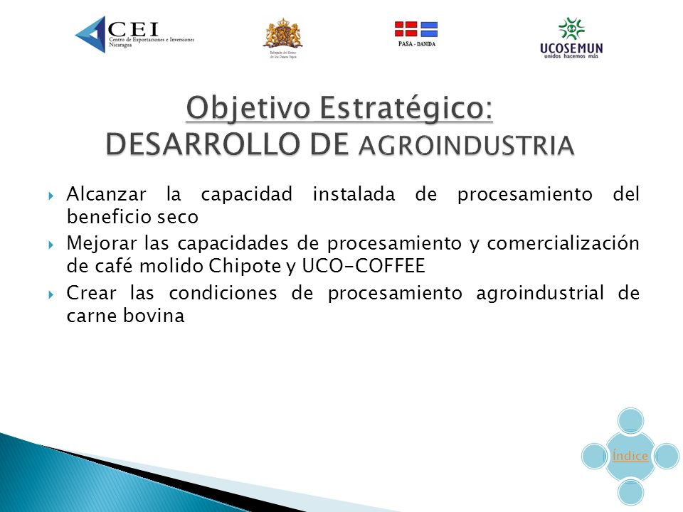 Objetivo Estratégico: DESARROLLO DE AGROINDUSTRIA