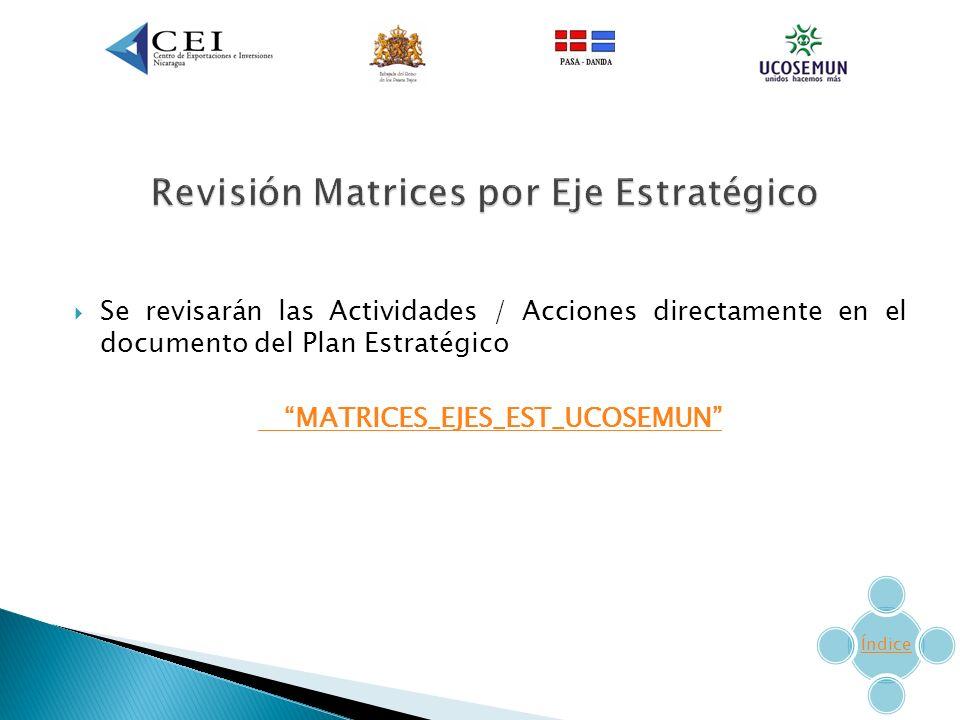 Revisión Matrices por Eje Estratégico