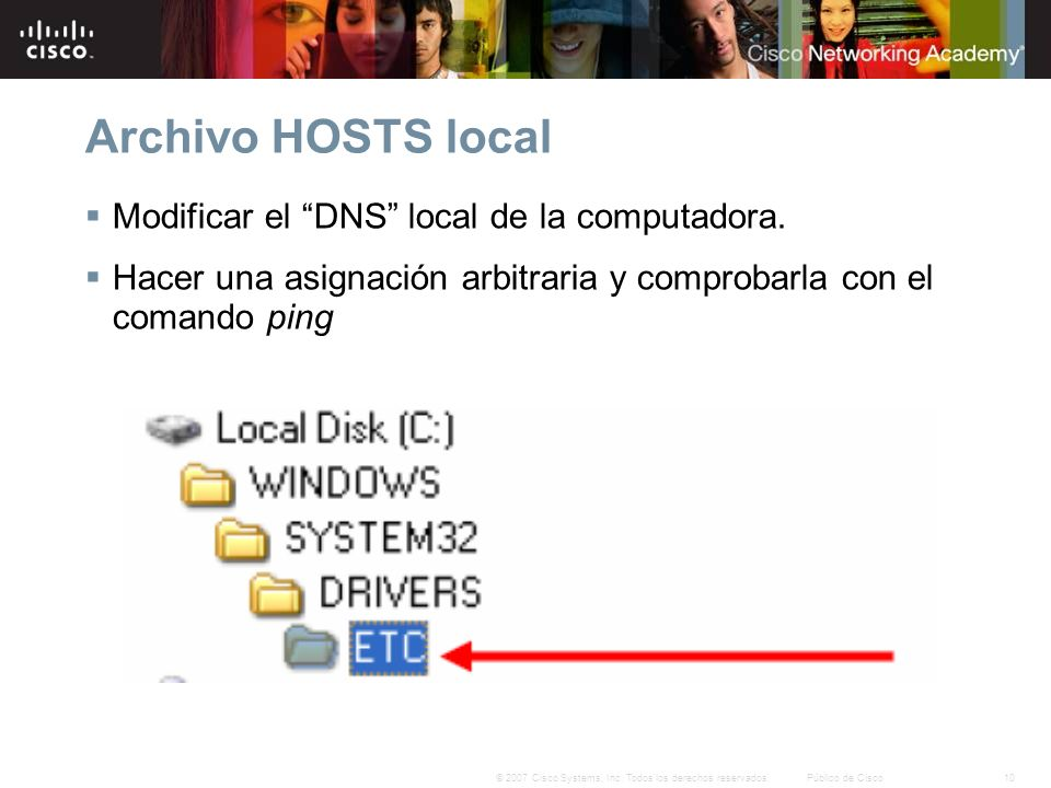 Archivo HOSTS local Modificar el DNS local de la computadora.