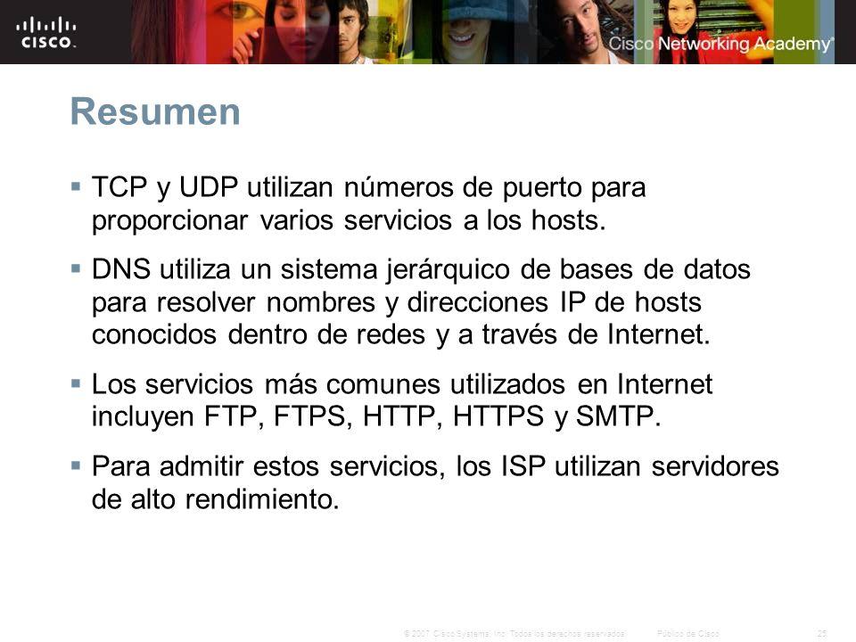 Resumen TCP y UDP utilizan números de puerto para proporcionar varios servicios a los hosts.