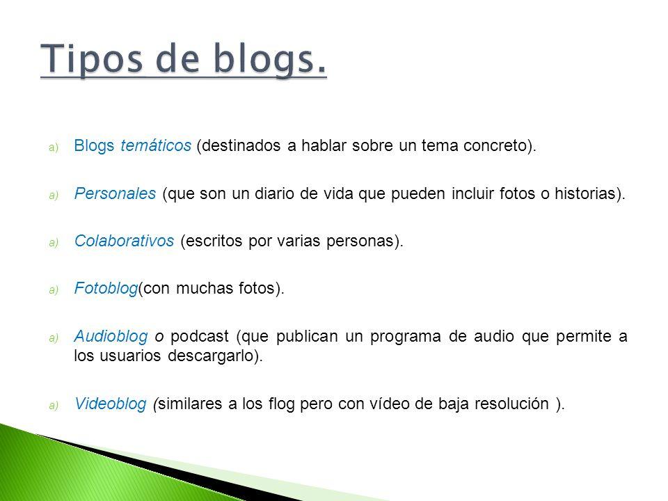 Tipos de blogs. Blogs temáticos (destinados a hablar sobre un tema concreto).