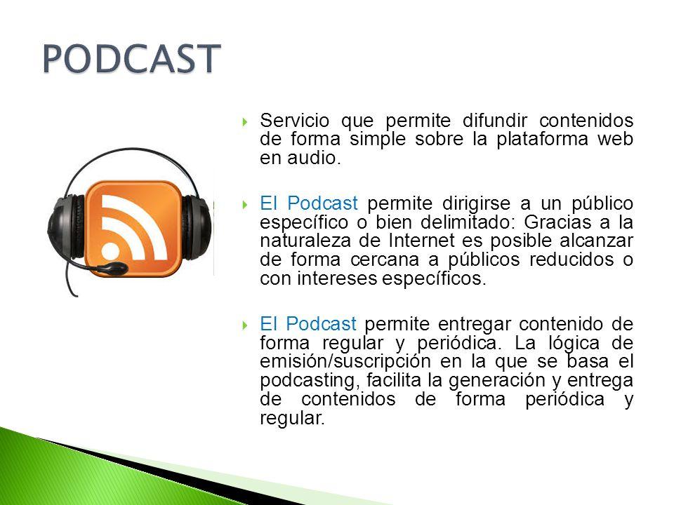 PODCAST Servicio que permite difundir contenidos de forma simple sobre la plataforma web en audio.