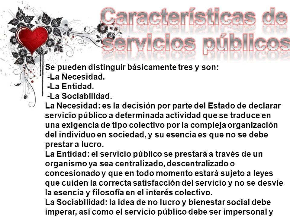 Características de servicios públicos