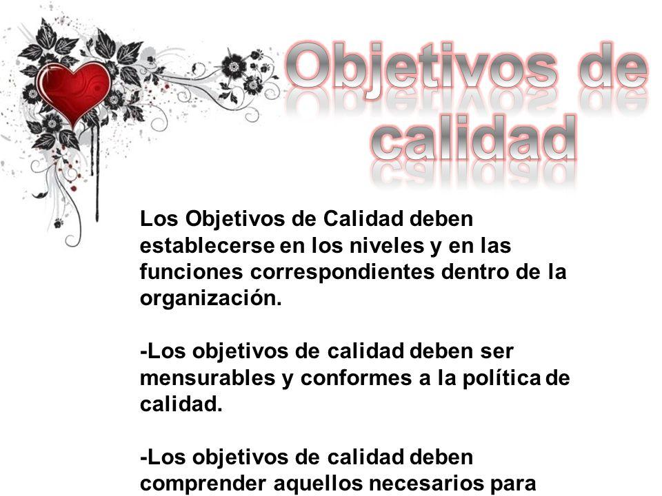 Objetivos de calidad. Los Objetivos de Calidad deben establecerse en los niveles y en las funciones correspondientes dentro de la organización.