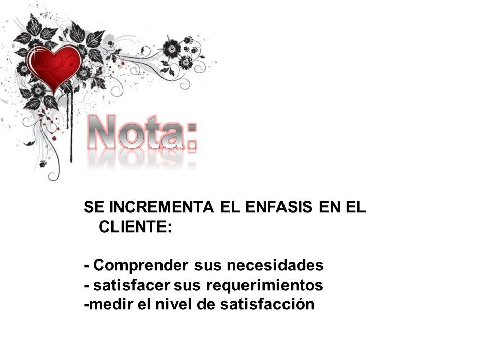 Nota: SE INCREMENTA EL ENFASIS EN EL CLIENTE: