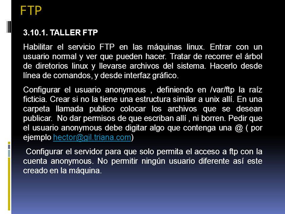 FTP 3.10.1. TALLER FTP.
