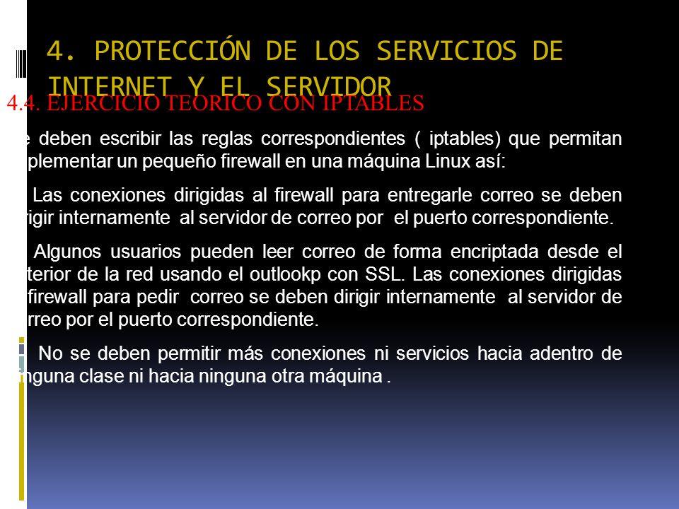 4. PROTECCIÓN DE LOS SERVICIOS DE INTERNET Y EL SERVIDOR