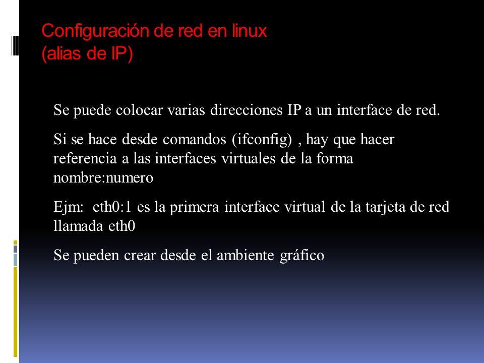 Configuración de red en linux (alias de IP)