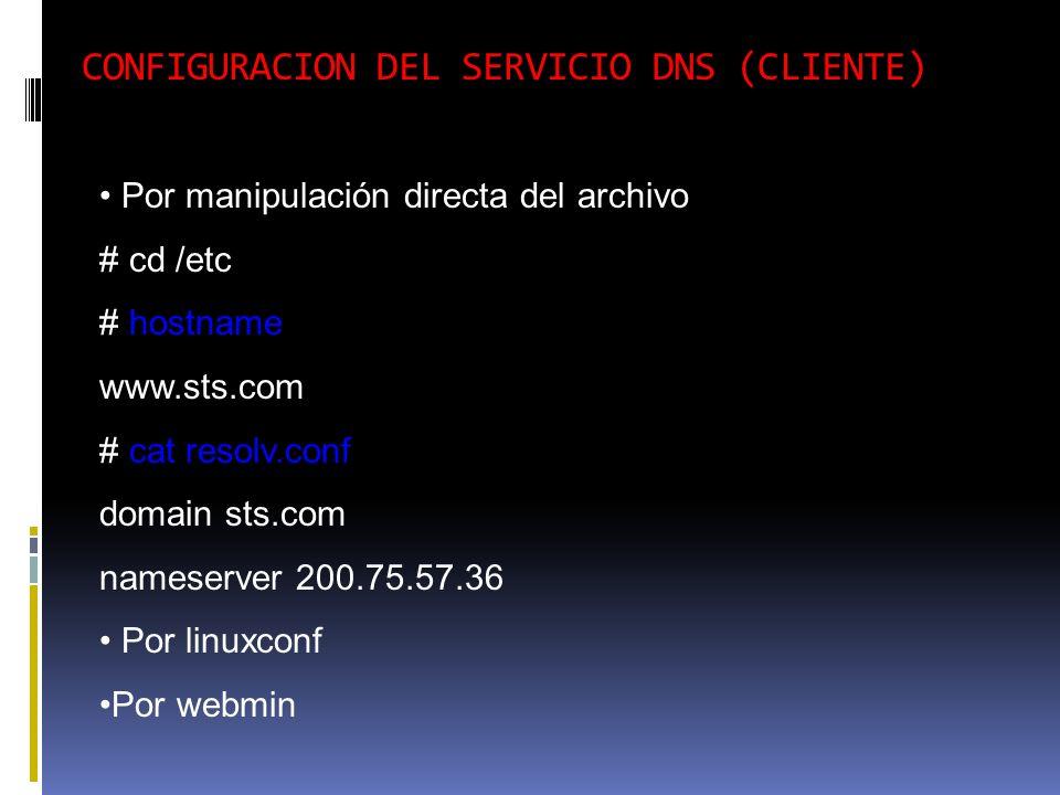 CONFIGURACION DEL SERVICIO DNS (CLIENTE)