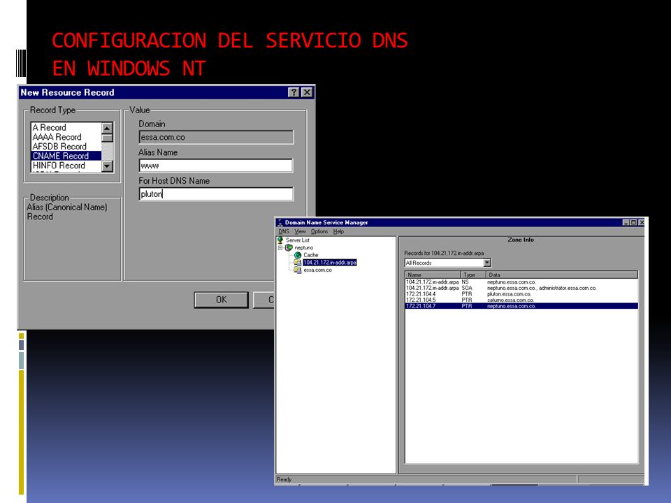 CONFIGURACION DEL SERVICIO DNS EN WINDOWS NT