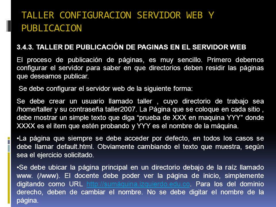 TALLER CONFIGURACION SERVIDOR WEB Y PUBLICACION