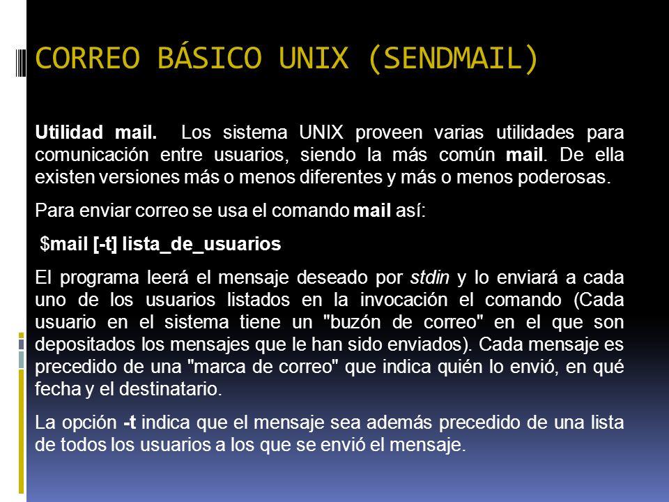 CORREO BÁSICO UNIX (SENDMAIL)