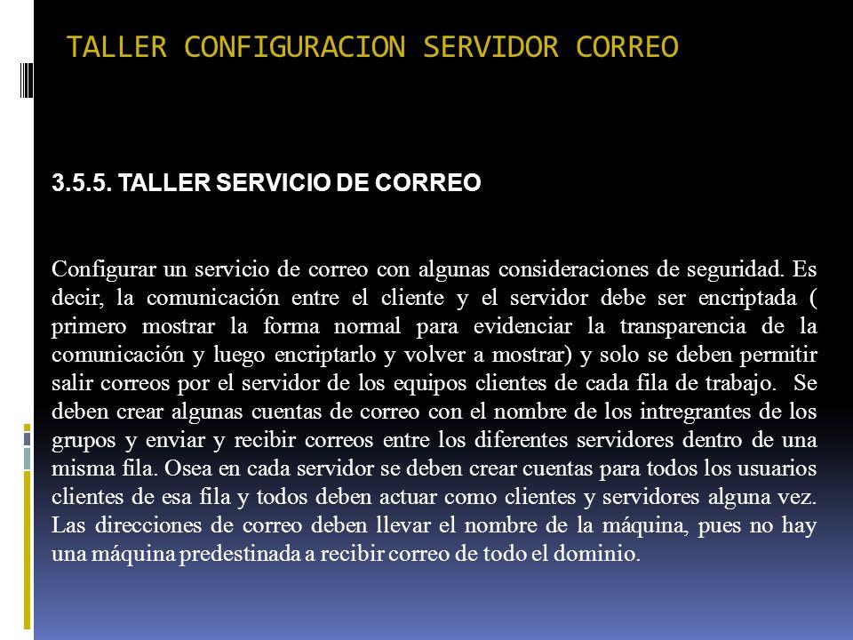 TALLER CONFIGURACION SERVIDOR CORREO