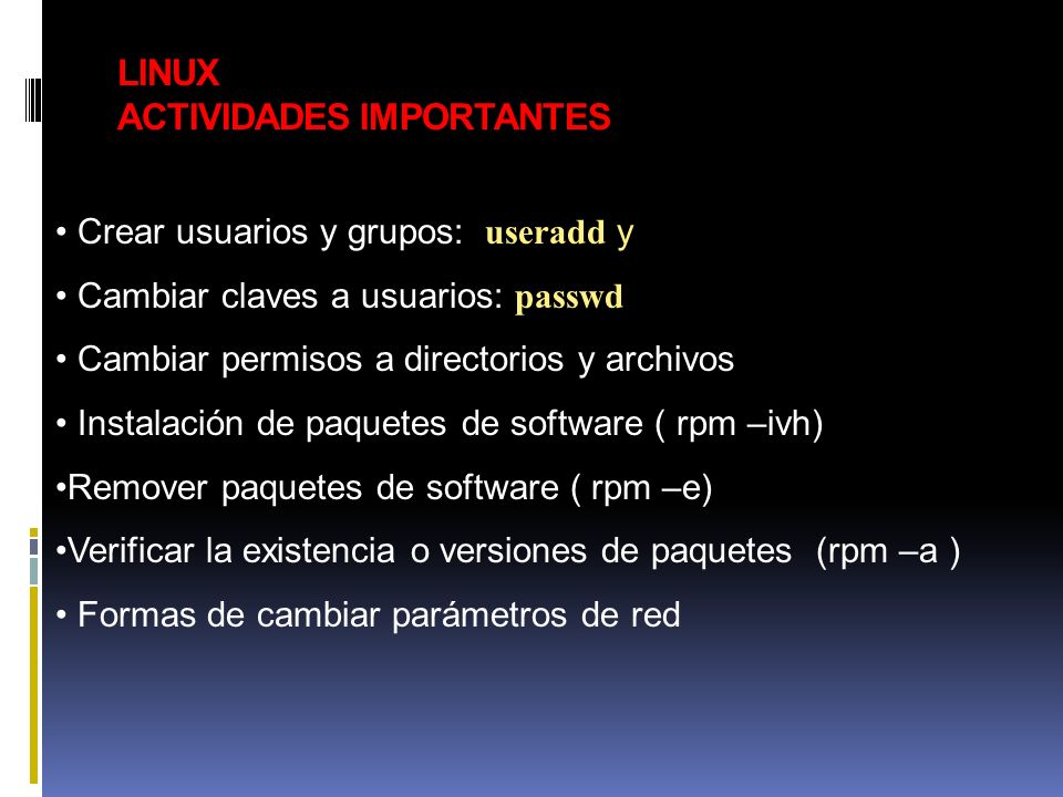 LINUX ACTIVIDADES IMPORTANTES