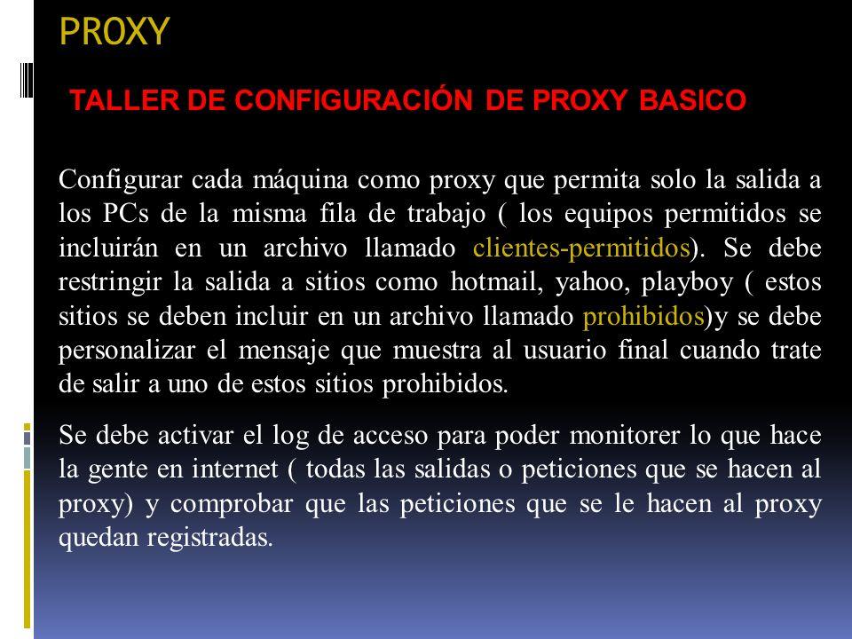 PROXY TALLER DE CONFIGURACIÓN DE PROXY BASICO