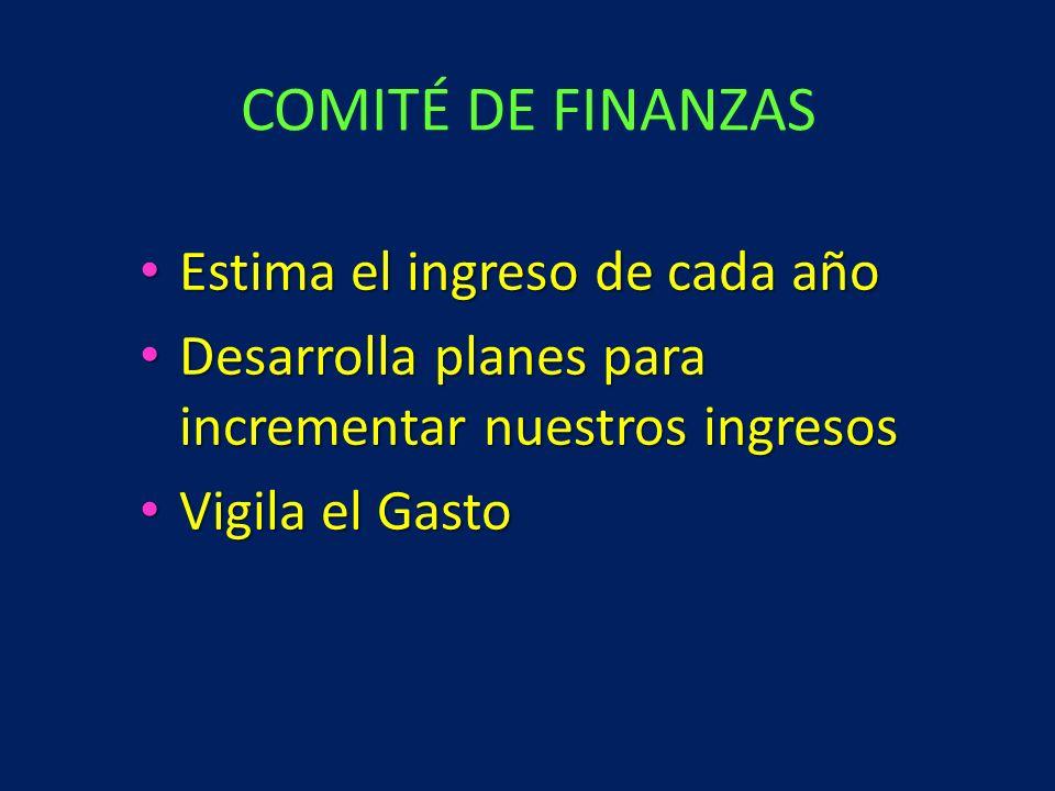 COMITÉ DE FINANZAS Estima el ingreso de cada año
