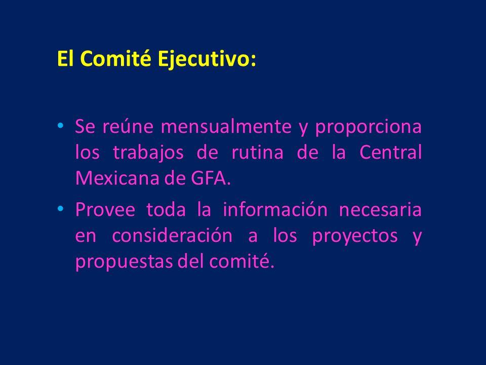 El Comité Ejecutivo: Se reúne mensualmente y proporciona los trabajos de rutina de la Central Mexicana de GFA.