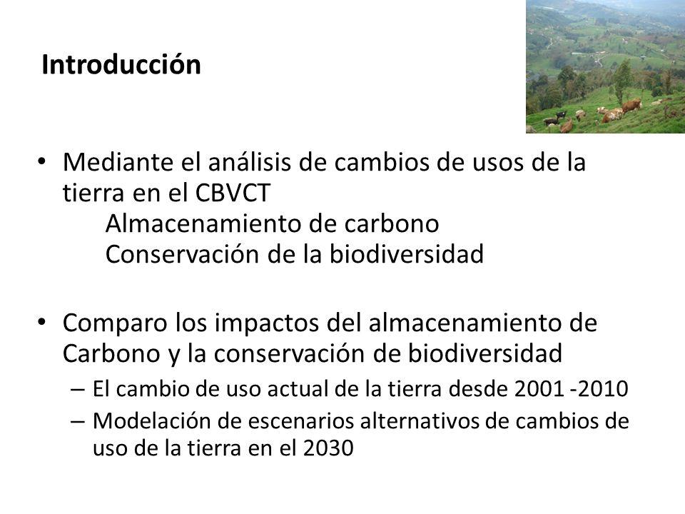 Introducción Mediante el análisis de cambios de usos de la tierra en el CBVCT Almacenamiento de carbono Conservación de la biodiversidad.