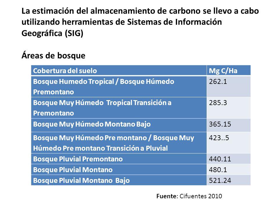 La estimación del almacenamiento de carbono se llevo a cabo utilizando herramientas de Sistemas de Información Geográfica (SIG)