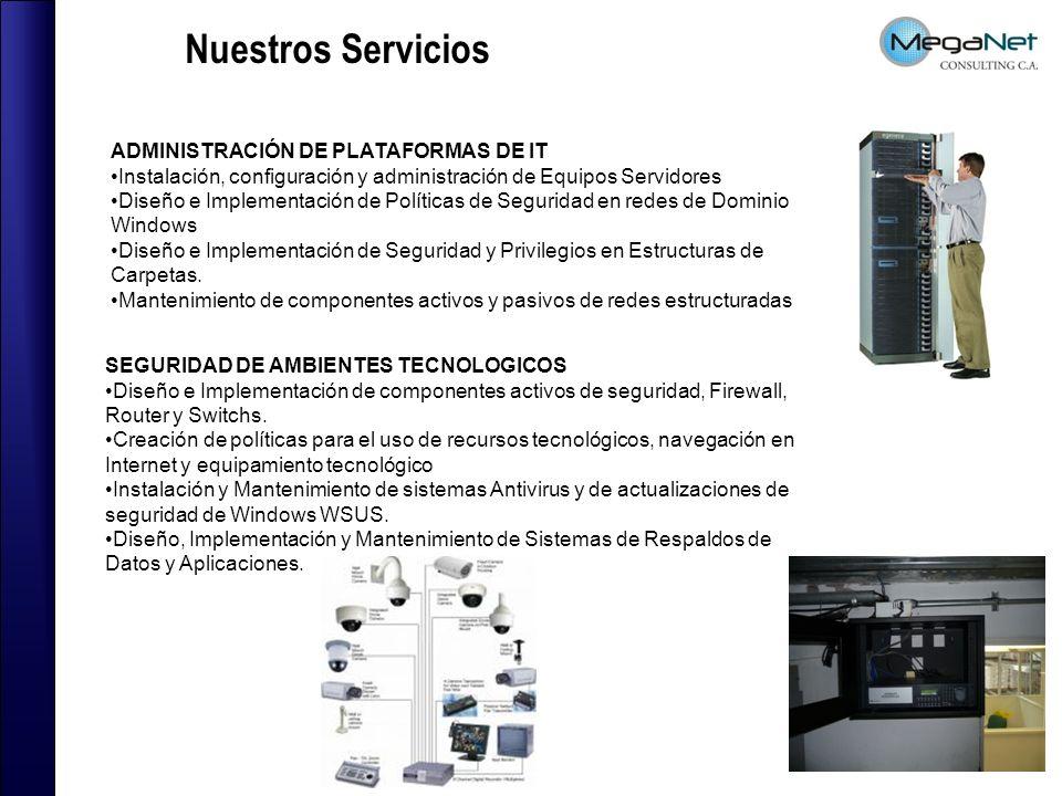 Nuestros Servicios ADMINISTRACIÓN DE PLATAFORMAS DE IT