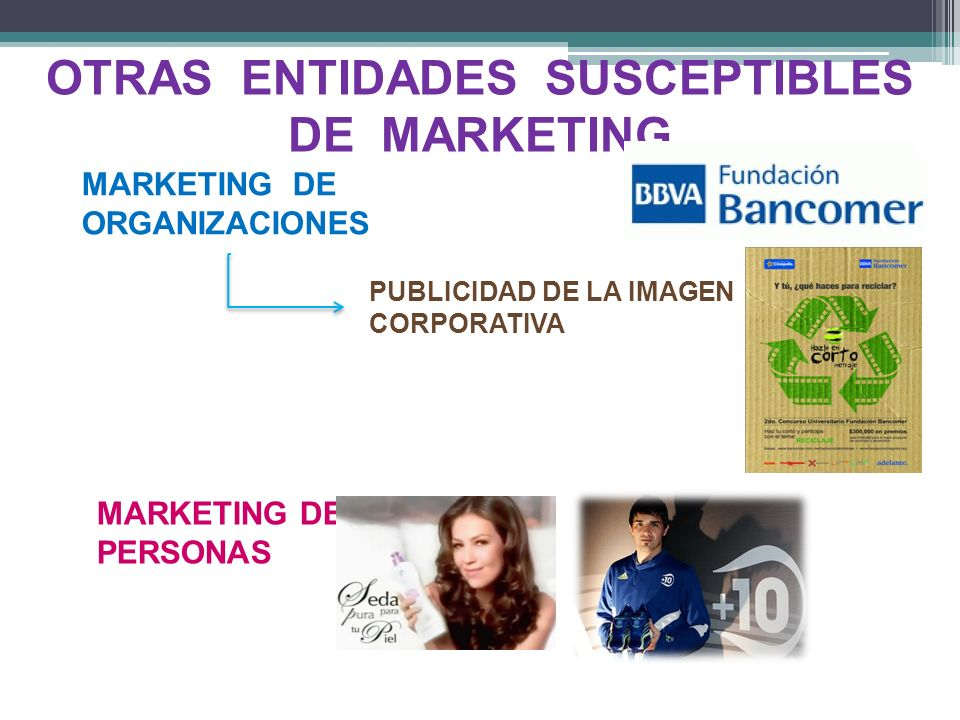 OTRAS ENTIDADES SUSCEPTIBLES DE MARKETING