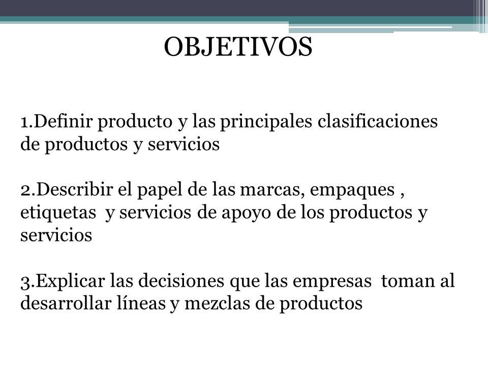 OBJETIVOS 1.Definir producto y las principales clasificaciones de productos y servicios.