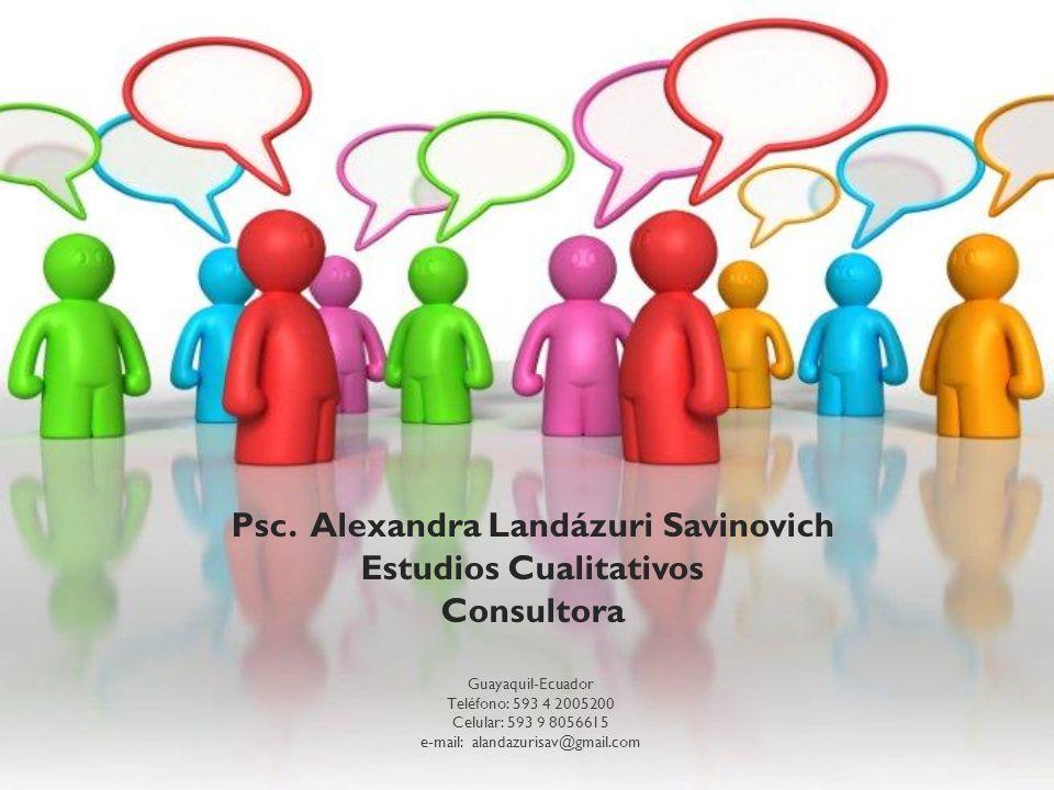 Psc. Alexandra Landázuri Savinovich Estudios Cualitativos Consultora