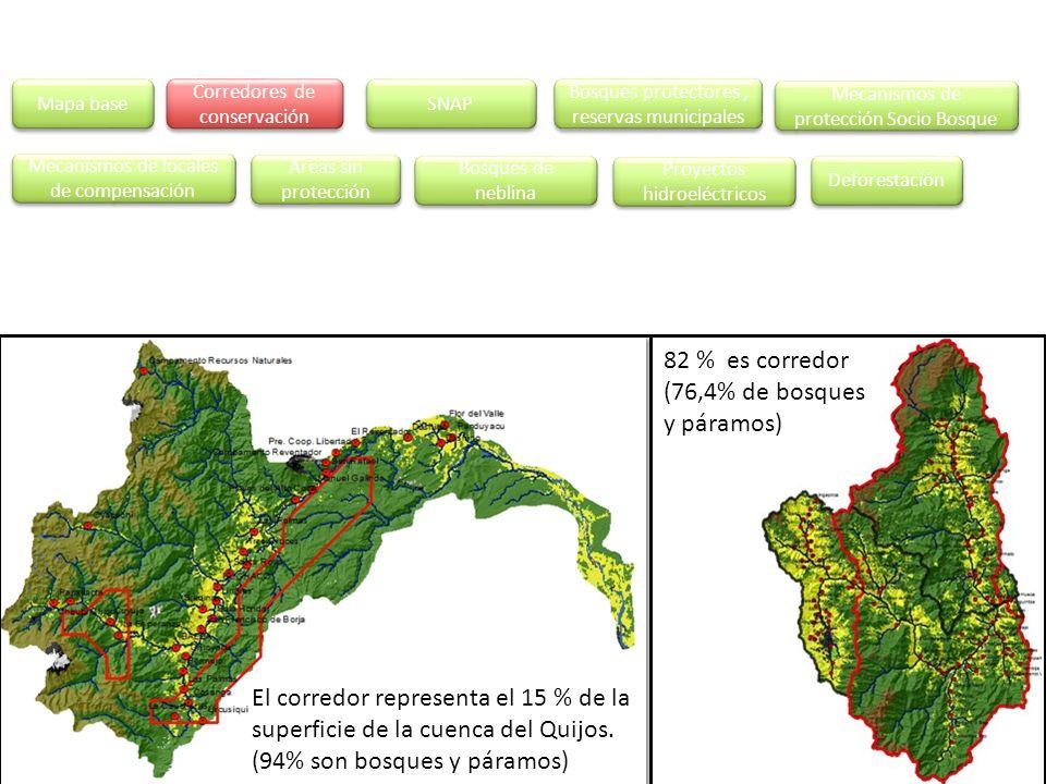 82 % es corredor (76,4% de bosques y páramos)