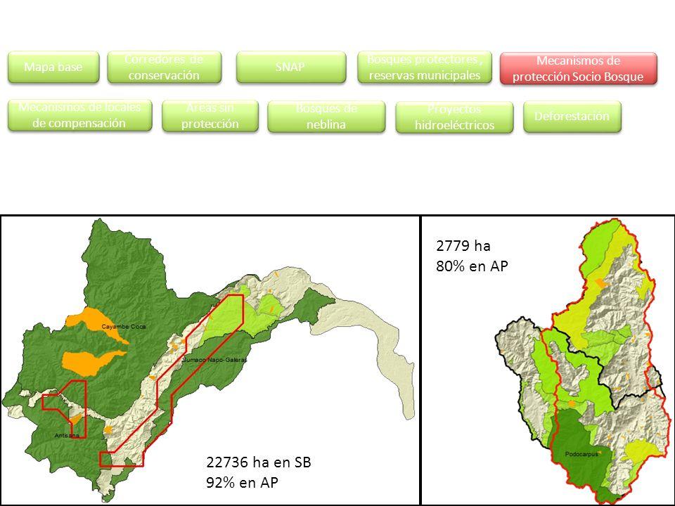 2779 ha 80% en AP 22736 ha en SB 92% en AP Mapa base