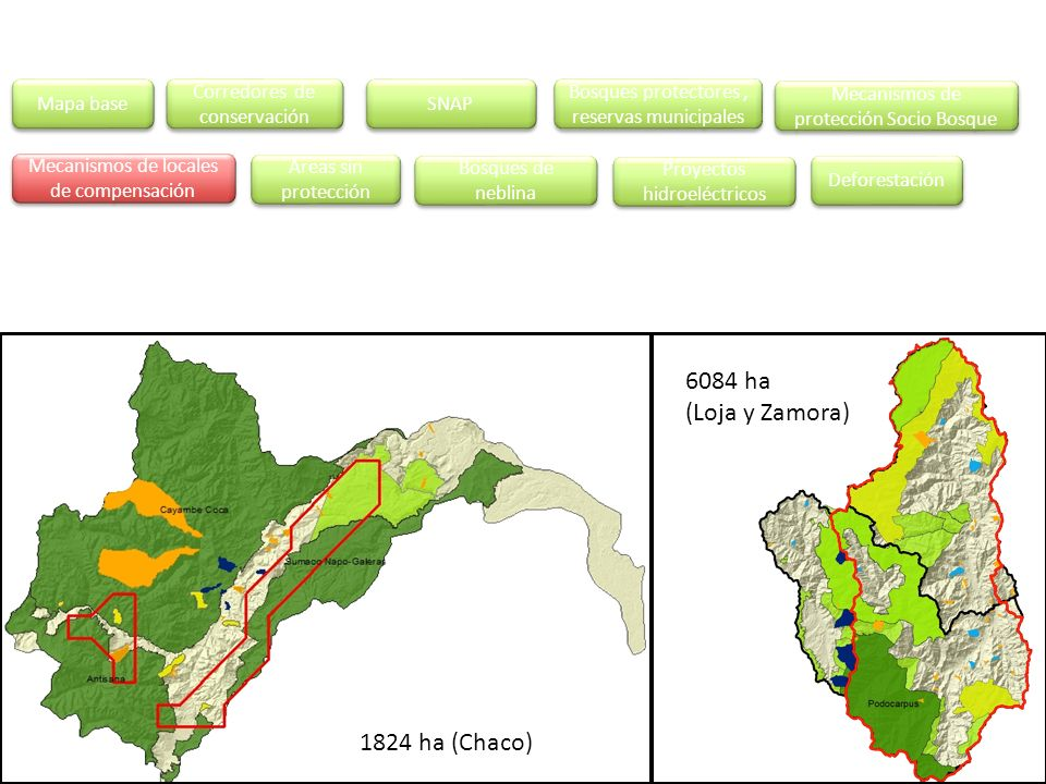 6084 ha (Loja y Zamora) 1824 ha (Chaco) Mapa base