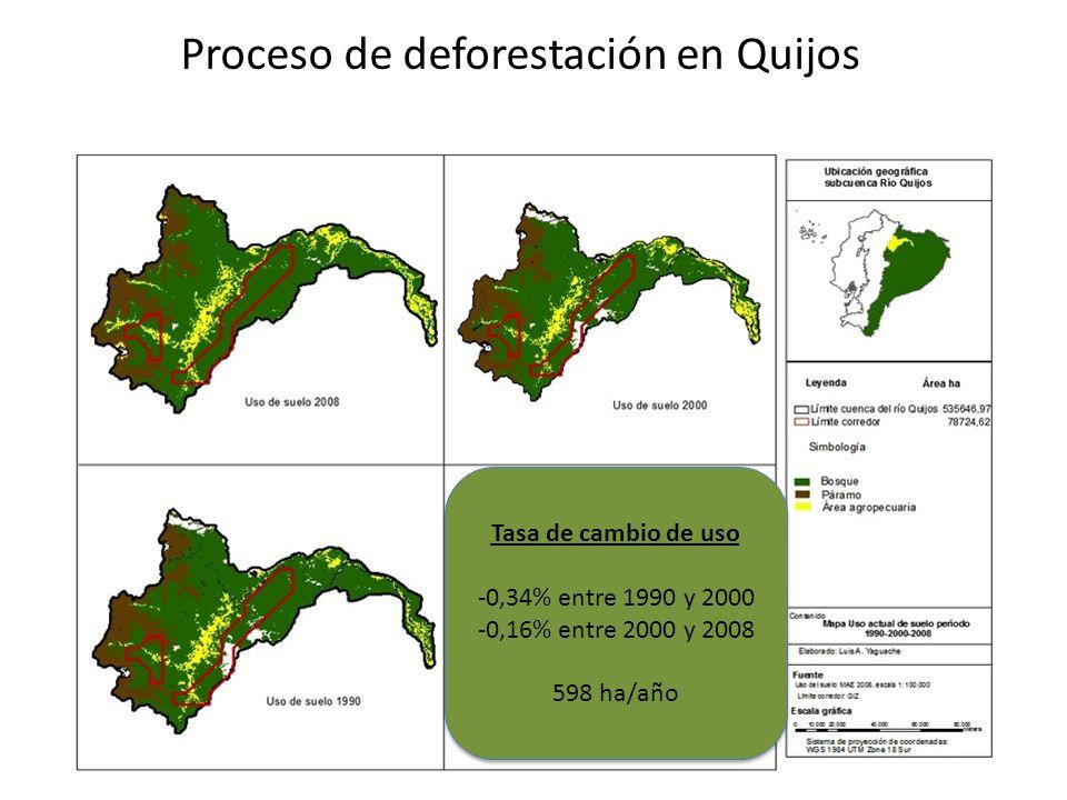 Proceso de deforestación en Quijos