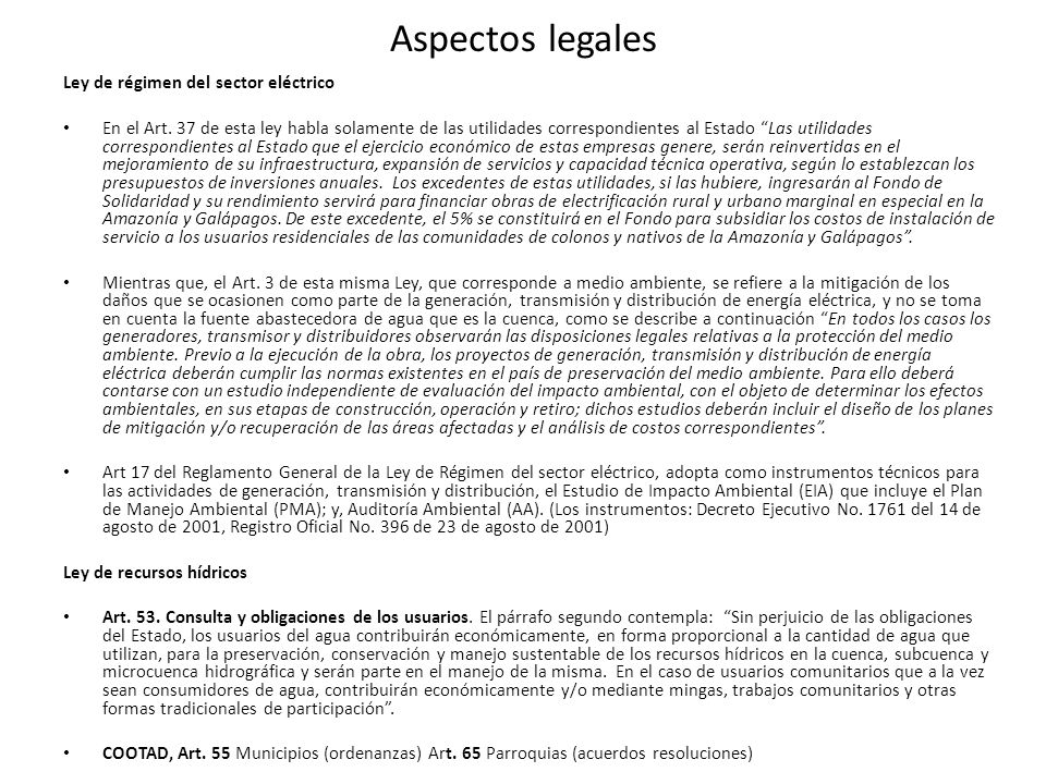 Aspectos legales Ley de régimen del sector eléctrico