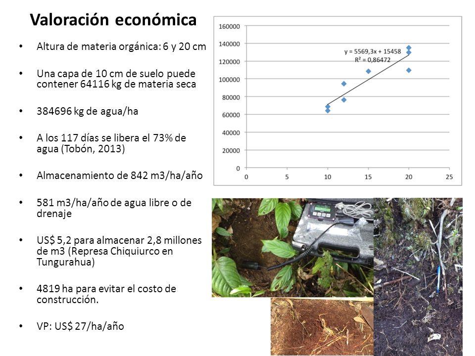 Valoración económica Altura de materia orgánica: 6 y 20 cm