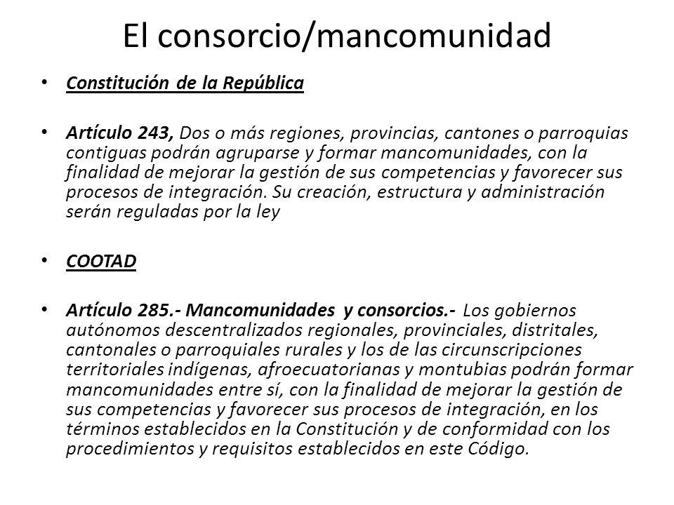 El consorcio/mancomunidad