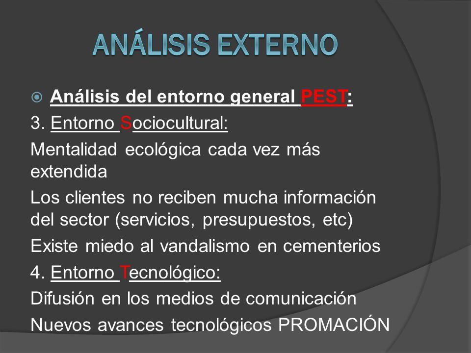 Análisis externo Análisis del entorno general PEST: