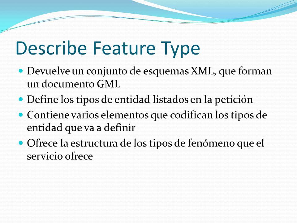 Describe Feature Type Devuelve un conjunto de esquemas XML, que forman un documento GML. Define los tipos de entidad listados en la petición.