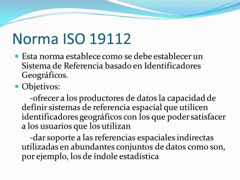 Norma ISO 19112 Esta norma establece como se debe establecer un Sistema de Referencia basado en Identificadores Geográficos.
