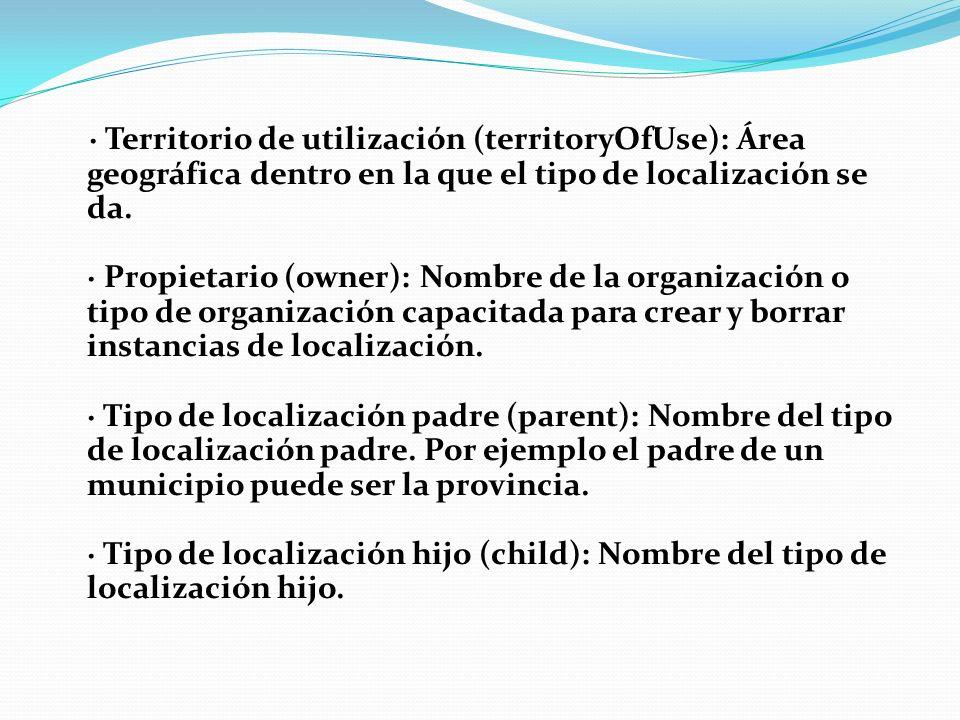 · Territorio de utilización (territoryOfUse): Área geográfica dentro en la que el tipo de localización se da.