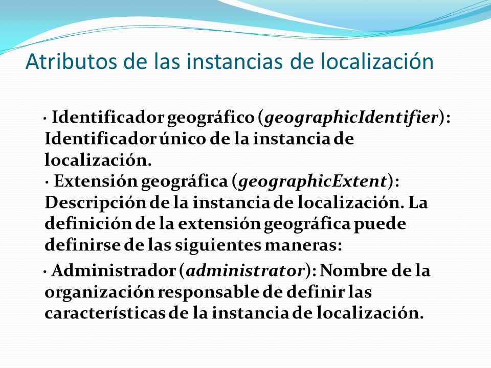 Atributos de las instancias de localización