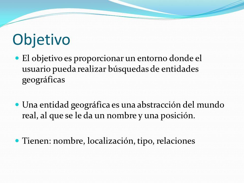 Objetivo El objetivo es proporcionar un entorno donde el usuario pueda realizar búsquedas de entidades geográficas.