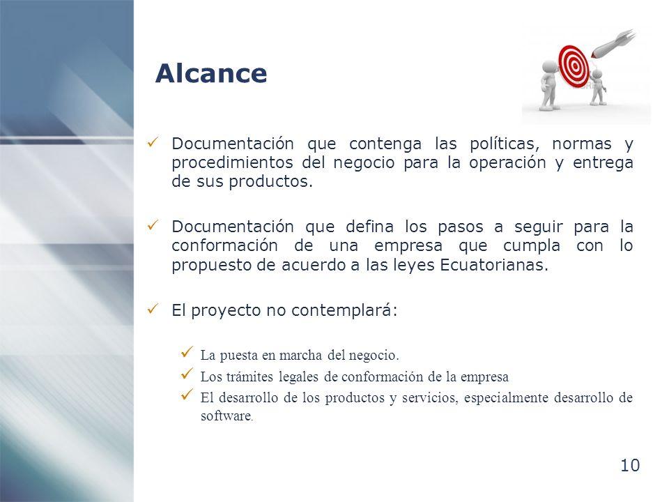 Alcance Documentación que contenga las políticas, normas y procedimientos del negocio para la operación y entrega de sus productos.