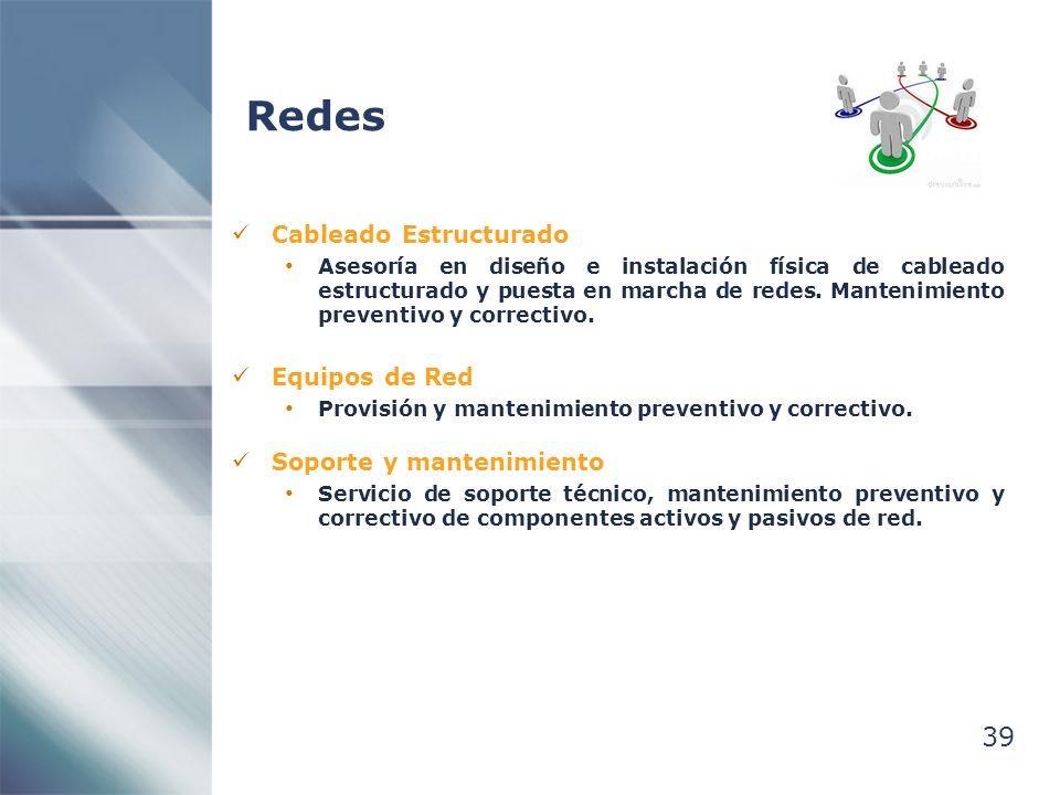 Redes 39 Cableado Estructurado Equipos de Red Soporte y mantenimiento