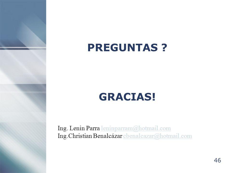 PREGUNTAS GRACIAS! Ing. Lenin Parra leninparram@hotmail.com