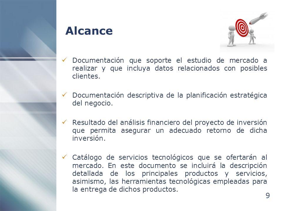 Alcance Documentación que soporte el estudio de mercado a realizar y que incluya datos relacionados con posibles clientes.