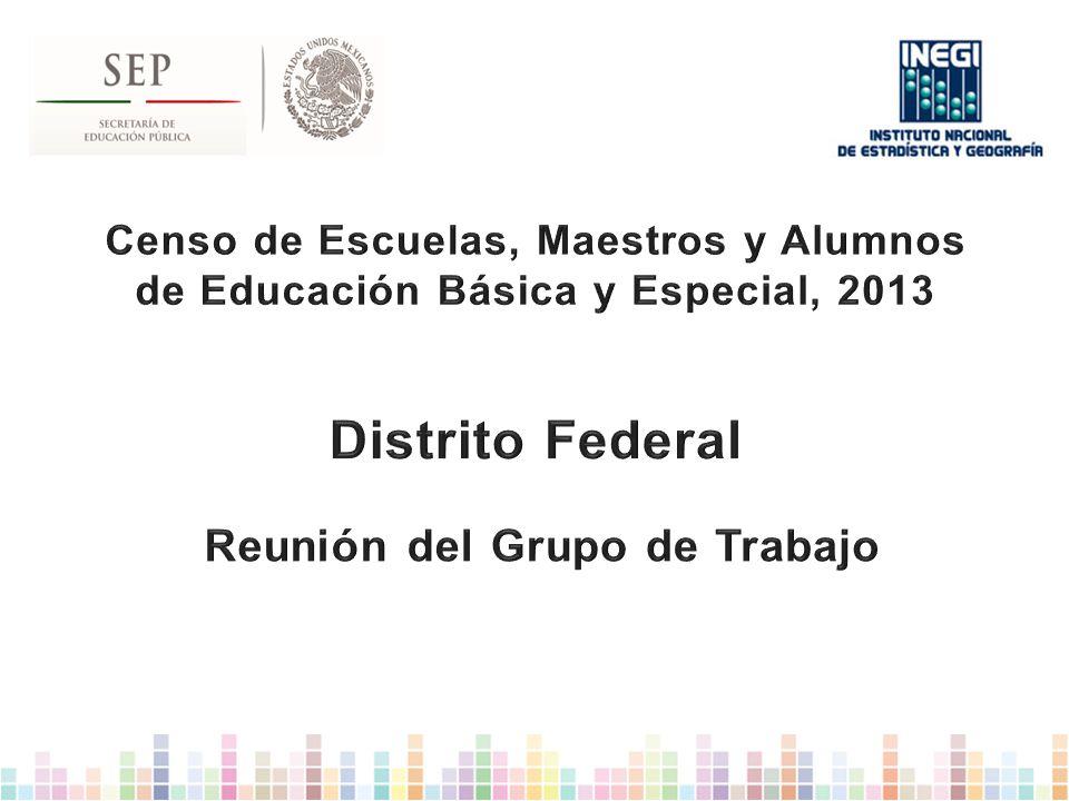 Censo de Escuelas, Maestros y Alumnos de Educación Básica y Especial, 2013 Distrito Federal Reunión del Grupo de Trabajo