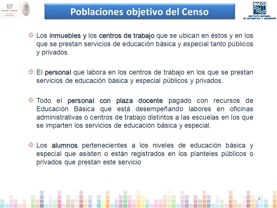 Poblaciones objetivo del Censo