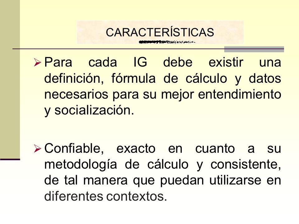 CARACTERÍSTICASPara cada IG debe existir una definición, fórmula de cálculo y datos necesarios para su mejor entendimiento y socialización.