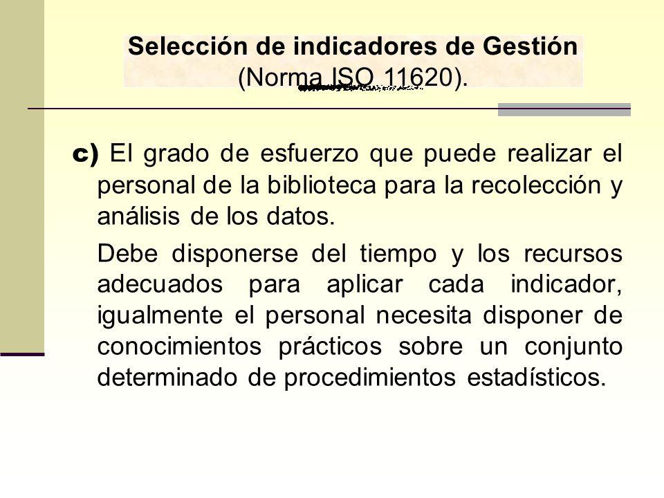 Selección de indicadores de Gestión (Norma ISO 11620).